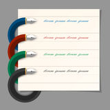 Stylized colored writing pen design for infographics,step presen. Tation, web design.Vector EPS10 Royalty Free Stock Photos