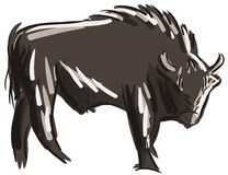 Stylized colorful bison isolated. Image representing an isolated bison. An idea for logos, decorations or stickers Royalty Free Stock Photography