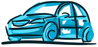 Stylized colorful car in blue tones isolated Stock Photography