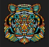 Stylized colorful doodle tiger. Hand drawn cartoon animal illustration, coloring book page. Decorative ornate for T Royalty Free Stock Photo