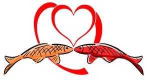Stylized colorful fishes with heart isolated Stock Images