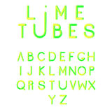 Stylized colorful font, typeface. Alphabet with vibrant colors. Typographic alphabet in a set. Three-Dimensional stock vector typography Stock Photography