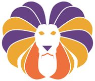 Stylized colorful lion isoalted Royalty Free Stock Photos