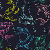 Stylized colorful seamless fishes. Ornamental line art hand drawing. Decorative vector pattern on dark blue background Royalty Free Stock Photos