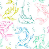 Stylized colorful seamless fishes. Ornamental line art hand drawing. Decorative vector pattern isolated on white background Royalty Free Stock Image