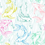Stylized colorful seamless fishes. Ornamental line art hand drawing. Decorative vector pattern on white background Stock Images