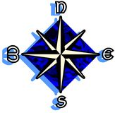 Stylized compass rose on abstract blue background isolated Stock Photography