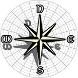 Stylized compass rose isolated in black Royalty Free Stock Photography