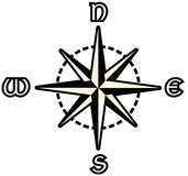 Stylized Compass Rose Isolated In Black Stock Photography