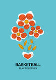 Stylized composition of the three flowers with petals in the for. M of basketball balls that grow from the heart Royalty Free Stock Images