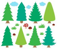 Stylized coniferous trees collection 1 Stock Photography