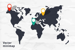 Stylized continental minimap. Vector hand drawn map of whole world Stock Image