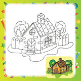 Stylized countryside house Royalty Free Stock Photo