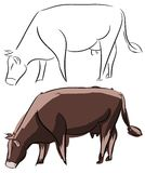 Stylized Cow in two versions isolated Stock Photo