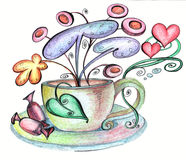 Stylized cup saucer and chocolates from which strange flowers grow Stock Photos