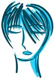 Stylized cute woman portrait in blue tones isolated Royalty Free Stock Photo