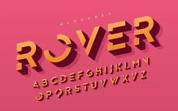 Stylized 3d uppercase letters, alphabet, typeface, font, typography. royalty free stock photos