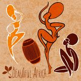 Stylized dancing African girl. On textured old background vector illustration