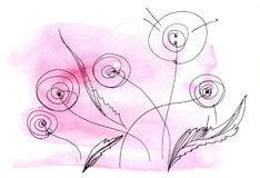 Stylized dandelions. On a gently pink watercolor background Royalty Free Stock Images