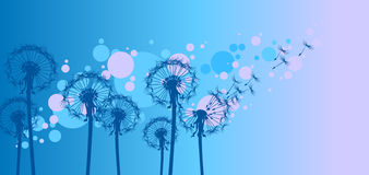Stylized dandelions in the wind Royalty Free Stock Photo