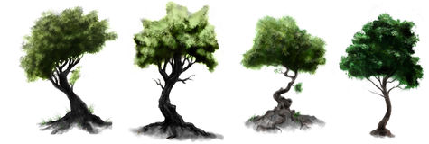 Stylized dark forest green leaves trees drawings Stock Photography