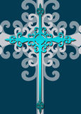 Stylized decorative blue cross Royalty Free Stock Photography