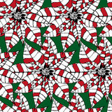 Stylized decorative pointsettia christmas seamless pattern  Stock Images