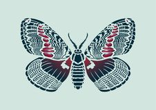 Stylized decorative sketch butterfly Brahmaea hearseyi on light background. vector art Stock Images