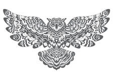 Stylized Decorative Vector Owl. Drawing for Coloring Book. Or Print for T-shirt Royalty Free Stock Images