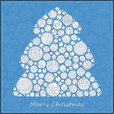 Stylized design green Christmas tree of Christmas balls. Christmas card Stock Photography