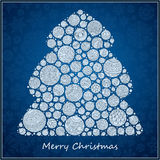 Stylized design green Christmas tree of Christmas balls. Christmas card Royalty Free Stock Photos