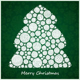 Stylized design green Christmas tree of Christmas balls. Christmas card Stock Photos
