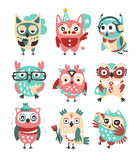 Stylized Design Owls Emoji Stickers Collection Of Cartoon Childish Vector Characters With Funky Elements Stock Photos