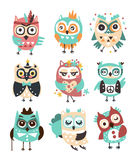 Stylized Design Owls Emoji Stickers Set Of Cartoon Childish Vector Characters With Funky Elements. Cute Night Birds Different Situations And Activities Series Royalty Free Stock Photos
