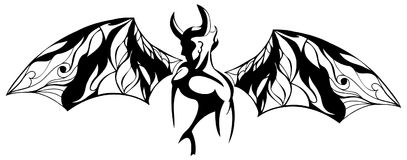 Stylized devil tattoo with decorated wings in black and white royalty free illustration