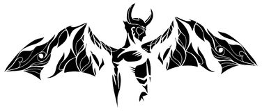 Stylized devil tattoo in white and black isolated royalty free illustration
