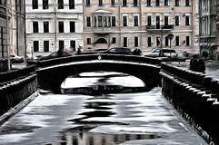 A mystique streets of Saint-Petersburg. A stylized by digital means picture of canal and streets of Saint-Petersburg Royalty Free Stock Photos