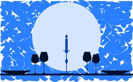 Stylized dinner table with candle on background Stock Photo