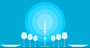 Stylized dinner table with candle on background Stock Photos