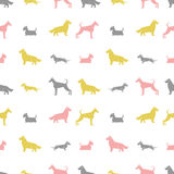 Stylized dog breeds silhouettes  seamless pattern Stock Photo