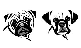 Stylized Dog Face Vector Graphics. Black outline of Pug and Boxer dog on white background Royalty Free Illustration