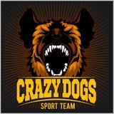 Stylized dog head - crazy dogs. Royalty Free Stock Image