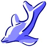 Stylized dolphin in shades of blue isolated royalty free stock photos