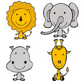 Stylized doodle jungle animals Royalty Free Stock Images