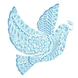Stylized dove with olive branch. Style zentangle on a white background Stock Photography