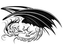 Stylized dragon. Artistically painted black dragon on a white background Royalty Free Stock Photos