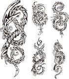 Stylized dragon knot tattoos Royalty Free Stock Image