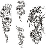 Stylized dragon spiral tattoos Stock Photo