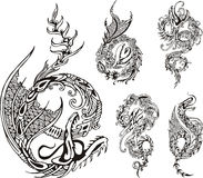 Stylized dragon tattos Royalty Free Stock Photo