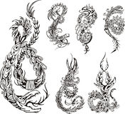 Stylized dragon tattos Royalty Free Stock Images